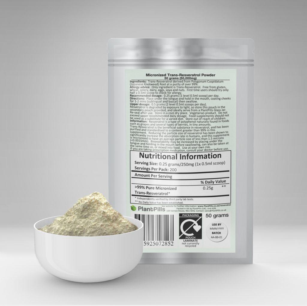 plantpills trans resveratrol powder and pouch