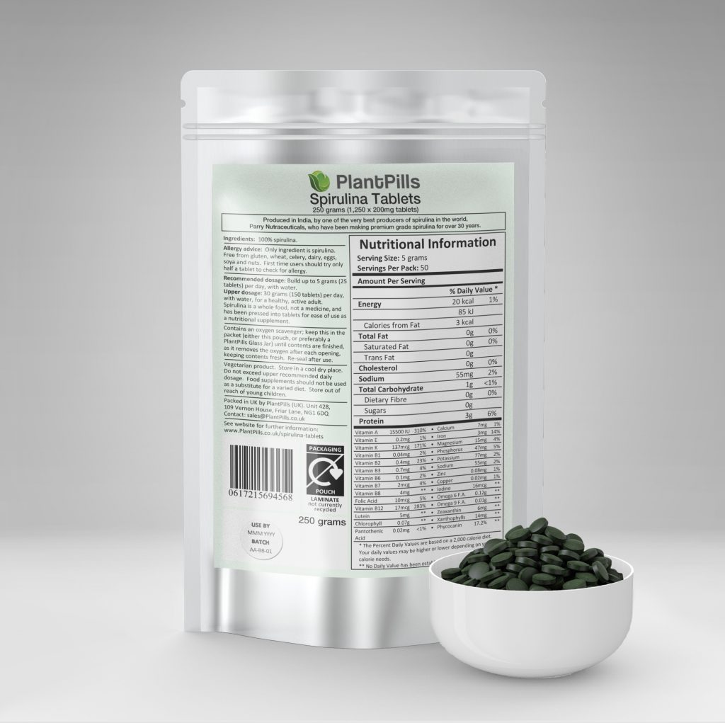 plantpills spirulina tablets and pouch