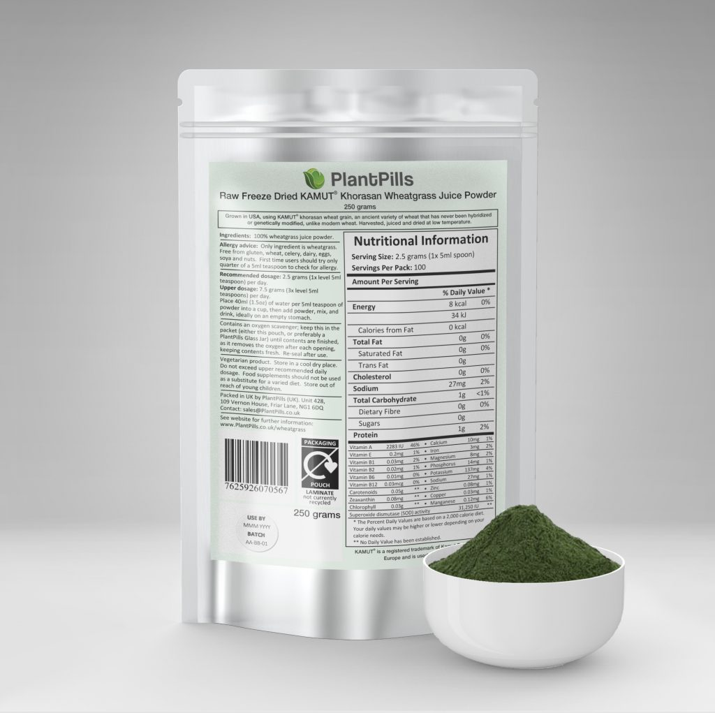 plantpills wheatgrass juice powder and pouch