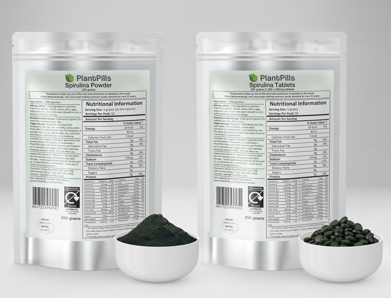 PlantPills Spirulina Pouche Tablets and Powder