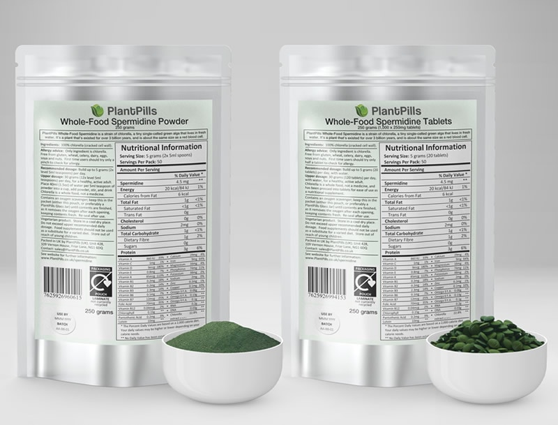 plantpills spermidine pouch powder and tablets