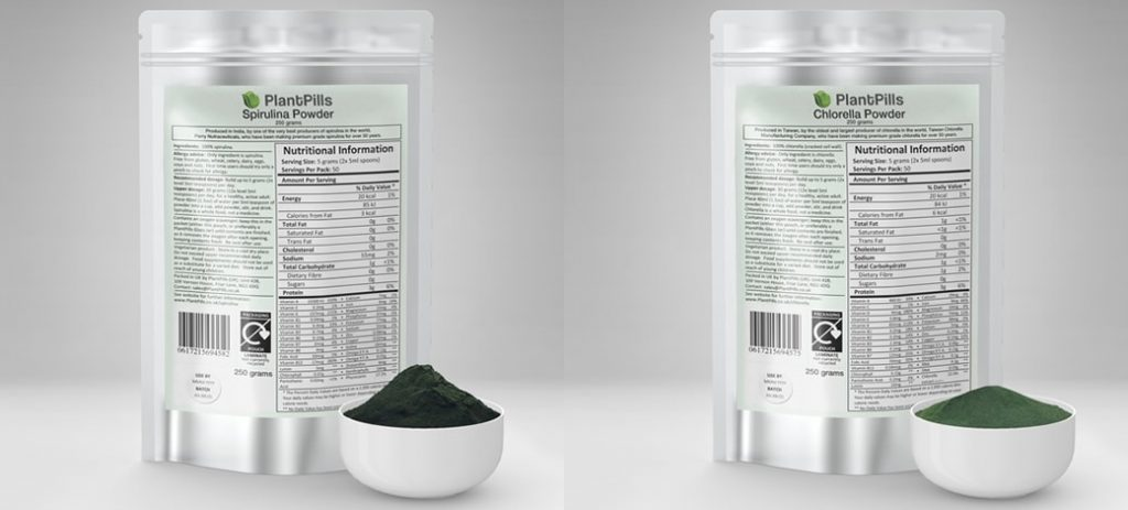 PlantPills Spirulina and Chlorella powders